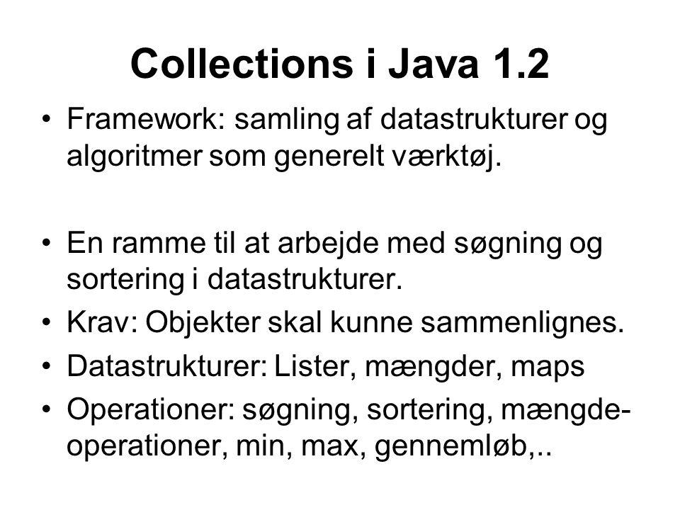 Collections i Java 1.2 Framework: samling af datastrukturer og algoritmer som generelt værktøj.