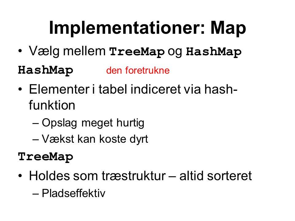 Implementationer: Map Vælg mellem TreeMap og HashMap HashMap den foretrukne Elementer i tabel indiceret via hash- funktion –Opslag meget hurtig –Vækst kan koste dyrt TreeMap Holdes som træstruktur – altid sorteret –Pladseffektiv
