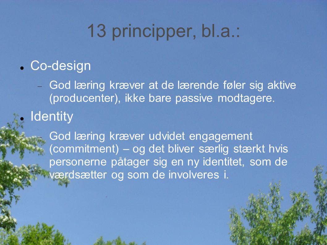 13 principper, bl.a.: Co-design  God læring kræver at de lærende føler sig aktive (producenter), ikke bare passive modtagere.