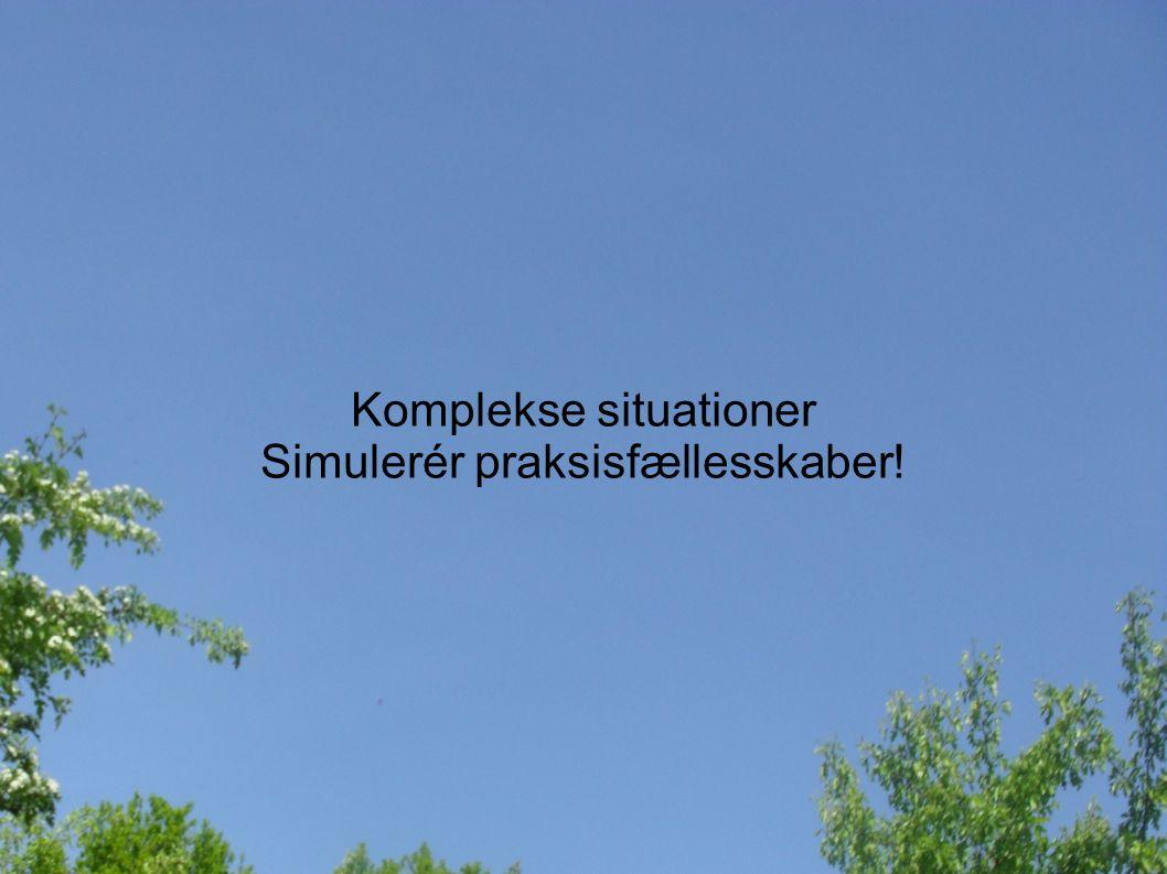 Komplekse situationer Simulerér praksisfællesskaber!