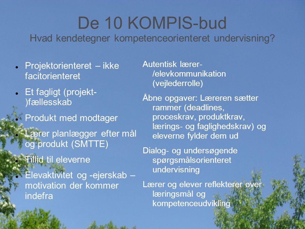De 10 KOMPIS-bud Hvad kendetegner kompetenceorienteret undervisning.