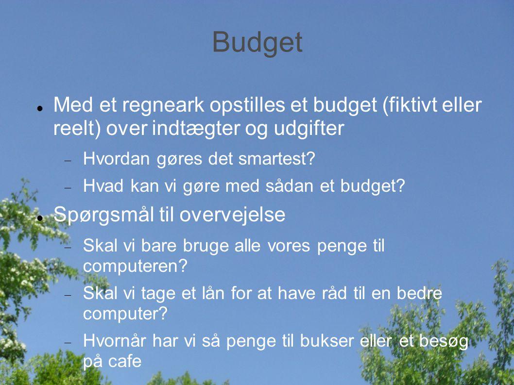 Budget Med et regneark opstilles et budget (fiktivt eller reelt) over indtægter og udgifter  Hvordan gøres det smartest.