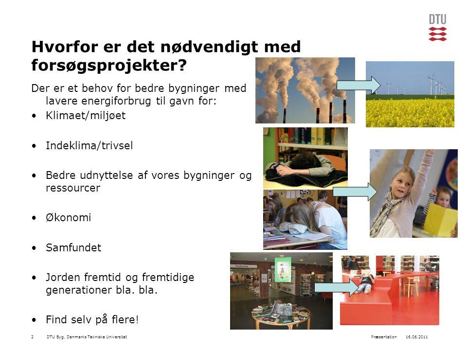 DTU Byg, Danmarks Tekniske Universitet16.06.2011Præsentation2 Hvorfor er det nødvendigt med forsøgsprojekter.
