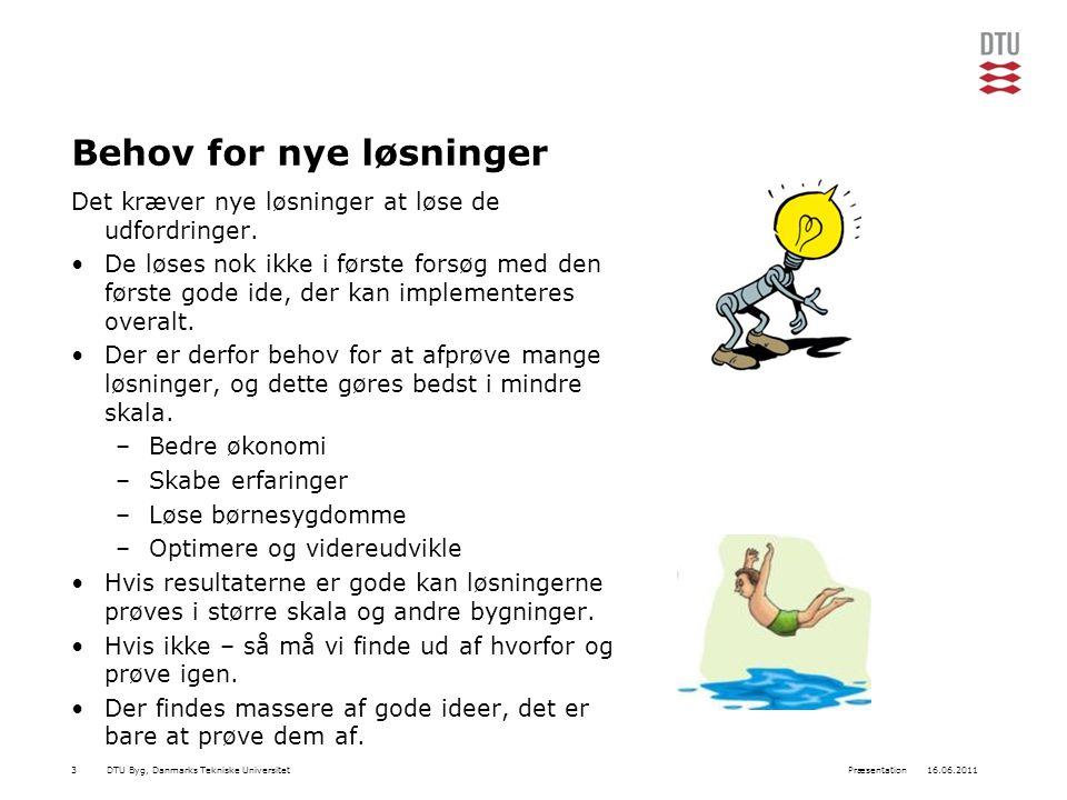 DTU Byg, Danmarks Tekniske Universitet16.06.2011Præsentation3 Behov for nye løsninger Det kræver nye løsninger at løse de udfordringer.