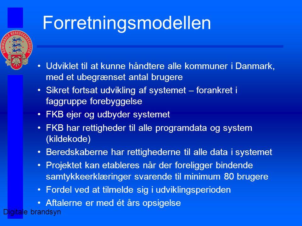 Forretningsmodellen Udviklet til at kunne håndtere alle kommuner i Danmark, med et ubegrænset antal brugere Sikret fortsat udvikling af systemet – forankret i faggruppe forebyggelse FKB ejer og udbyder systemet FKB har rettigheder til alle programdata og system (kildekode) Beredskaberne har rettighederne til alle data i systemet Projektet kan etableres når der foreligger bindende samtykkeerklæringer svarende til minimum 80 brugere Fordel ved at tilmelde sig i udviklingsperioden Aftalerne er med ét års opsigelse