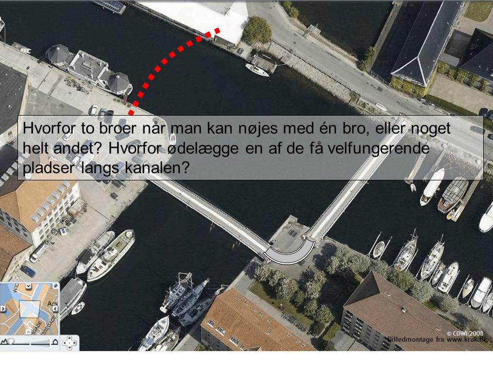 Billedmontage fra www.krak.dk Hvorfor to broer når man kan nøjes med én bro, eller noget helt andet.