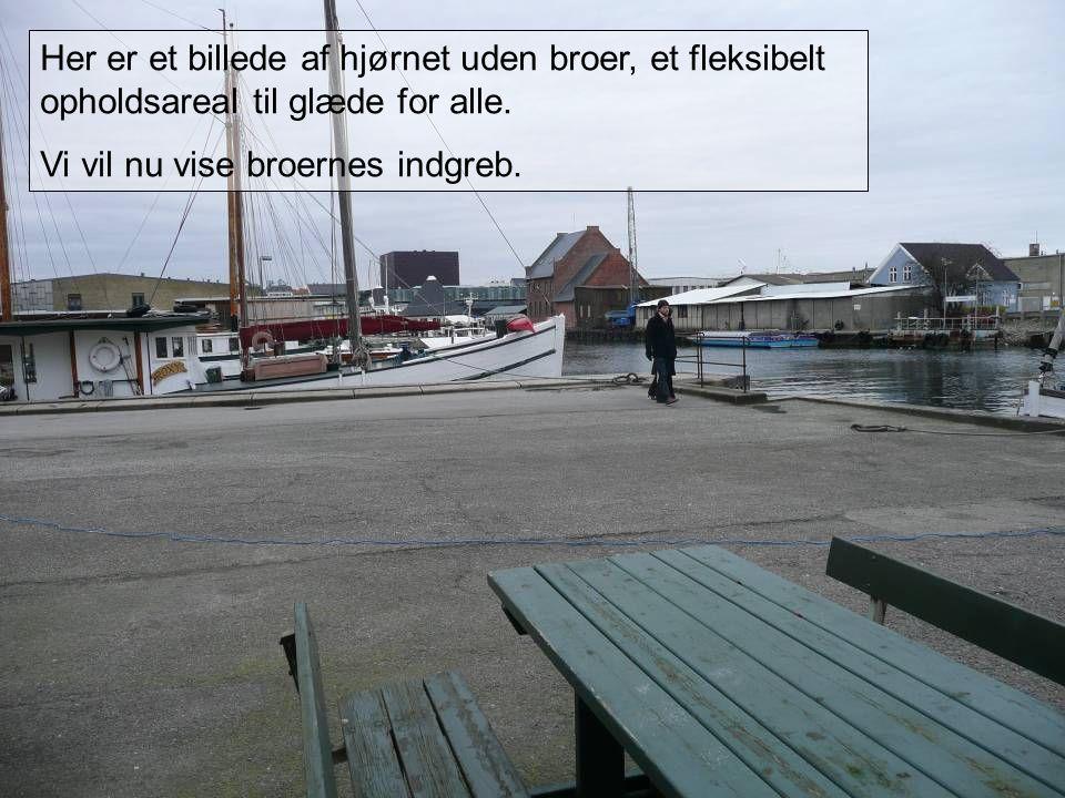 Her er et billede af hjørnet uden broer, et fleksibelt opholdsareal til glæde for alle.
