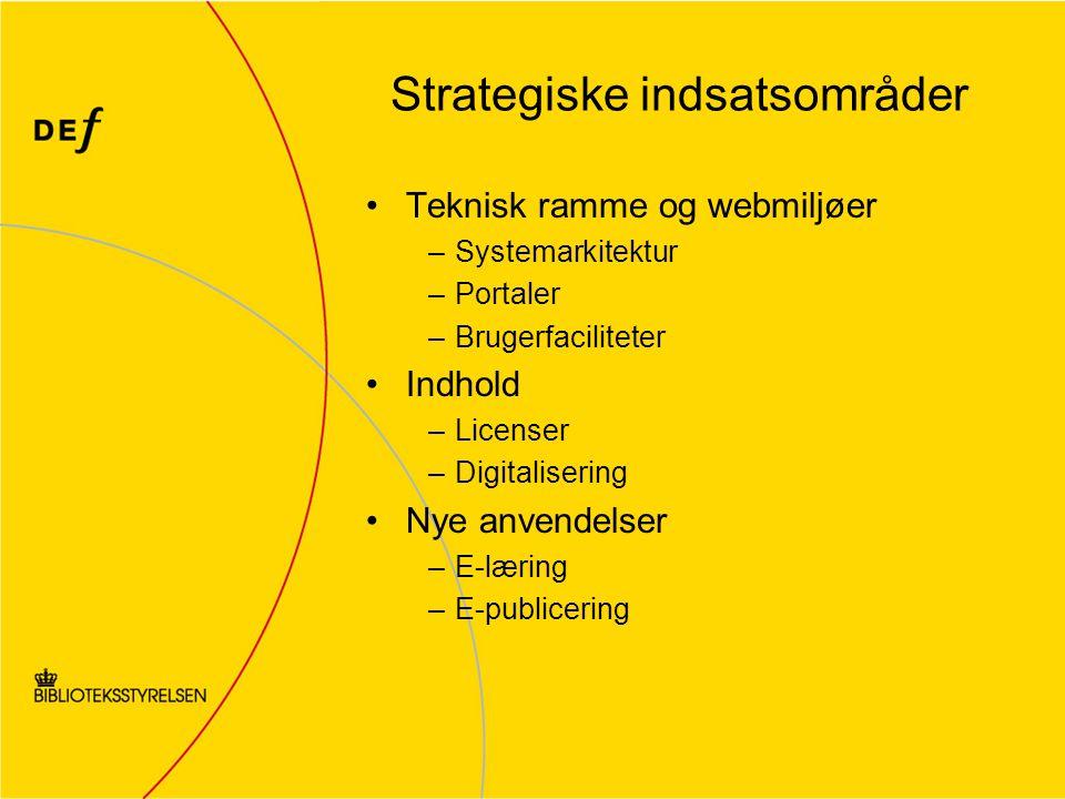 Strategiske indsatsområder Teknisk ramme og webmiljøer –Systemarkitektur –Portaler –Brugerfaciliteter Indhold –Licenser –Digitalisering Nye anvendelser –E-læring –E-publicering