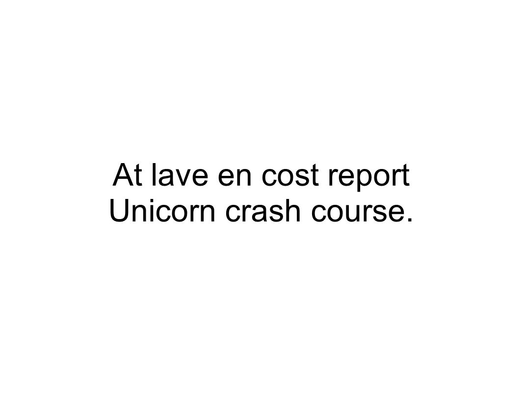 At lave en cost report Unicorn crash course.