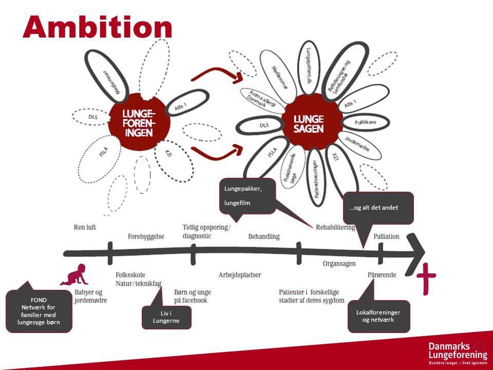 Liv i Lungerne Lokalforeninger og netværk Lungepakker, lungefilm …og alt det andet FOND Netværk for familier med lungesyge børn Ambition