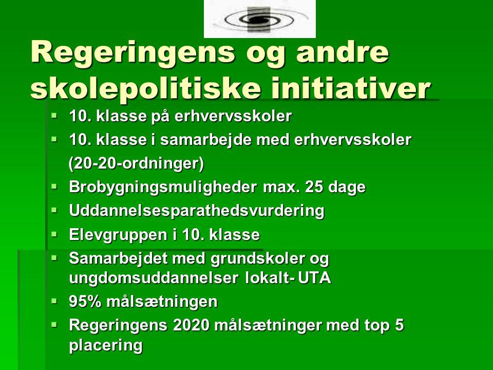 Regeringens og andre skolepolitiske initiativer  10.