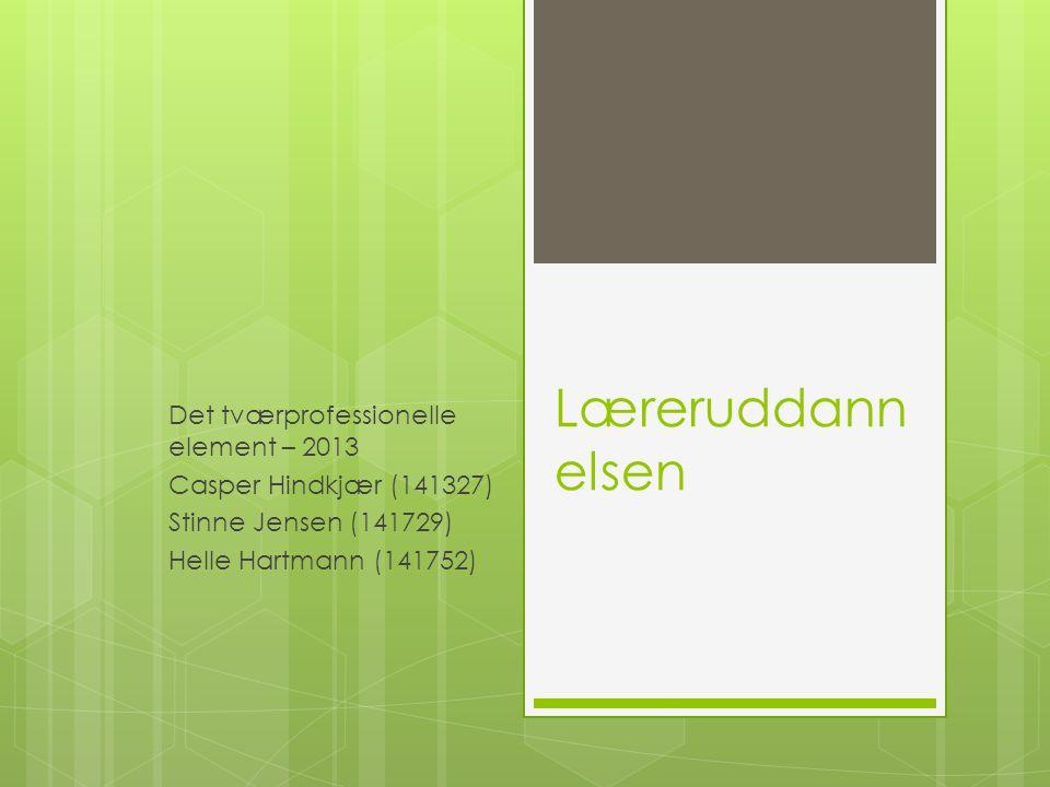 Læreruddann elsen Det tværprofessionelle element – 2013 Casper Hindkjær (141327) Stinne Jensen (141729) Helle Hartmann (141752)