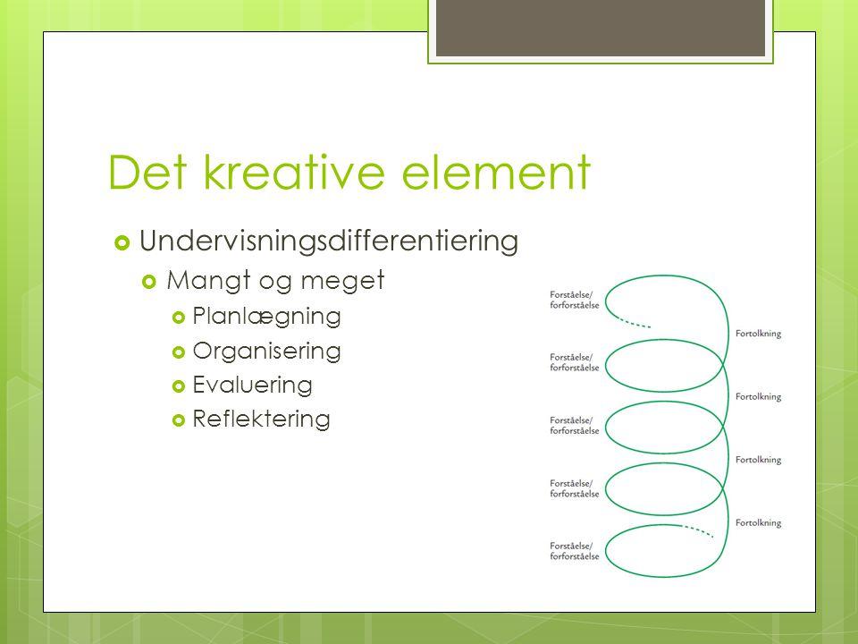 Det kreative element  Undervisningsdifferentiering  Mangt og meget  Planlægning  Organisering  Evaluering  Reflektering