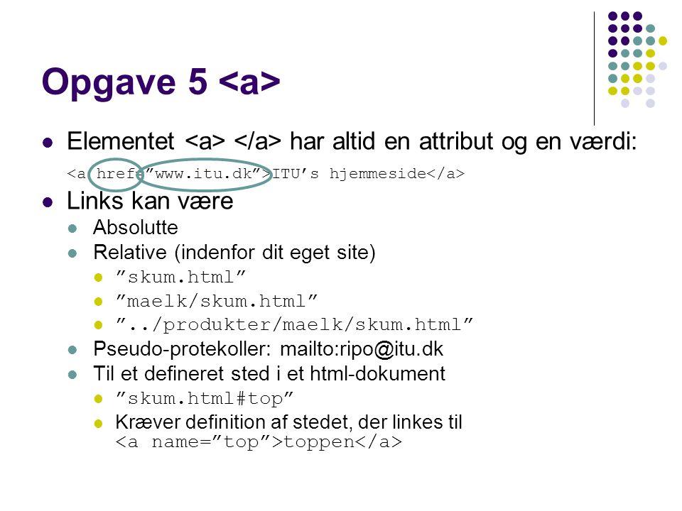 Opgave 5 Elementet har altid en attribut og en værdi: ITU's hjemmeside Links kan være Absolutte Relative (indenfor dit eget site) skum.html maelk/skum.html ../produkter/maelk/skum.html Pseudo-protekoller: mailto:ripo@itu.dk Til et defineret sted i et html-dokument skum.html#top Kræver definition af stedet, der linkes til toppen