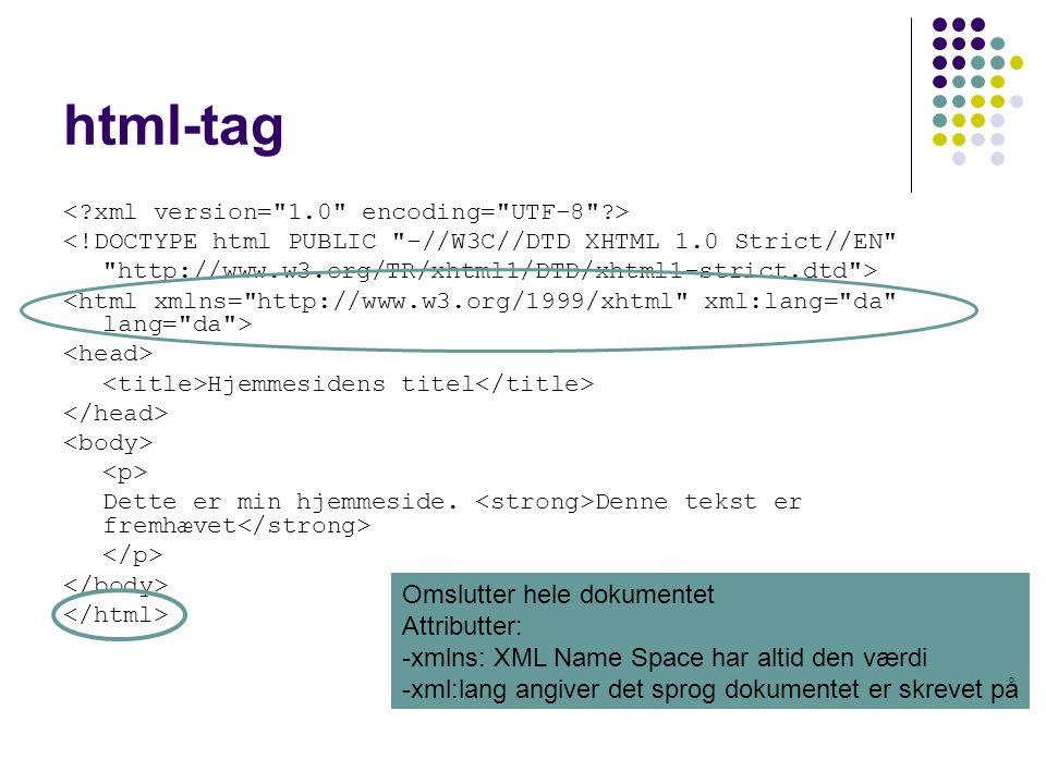 html-tag <!DOCTYPE html PUBLIC -//W3C//DTD XHTML 1.0 Strict//EN http://www.w3.org/TR/xhtml1/DTD/xhtml1-strict.dtd > Hjemmesidens titel Dette er min hjemmeside.
