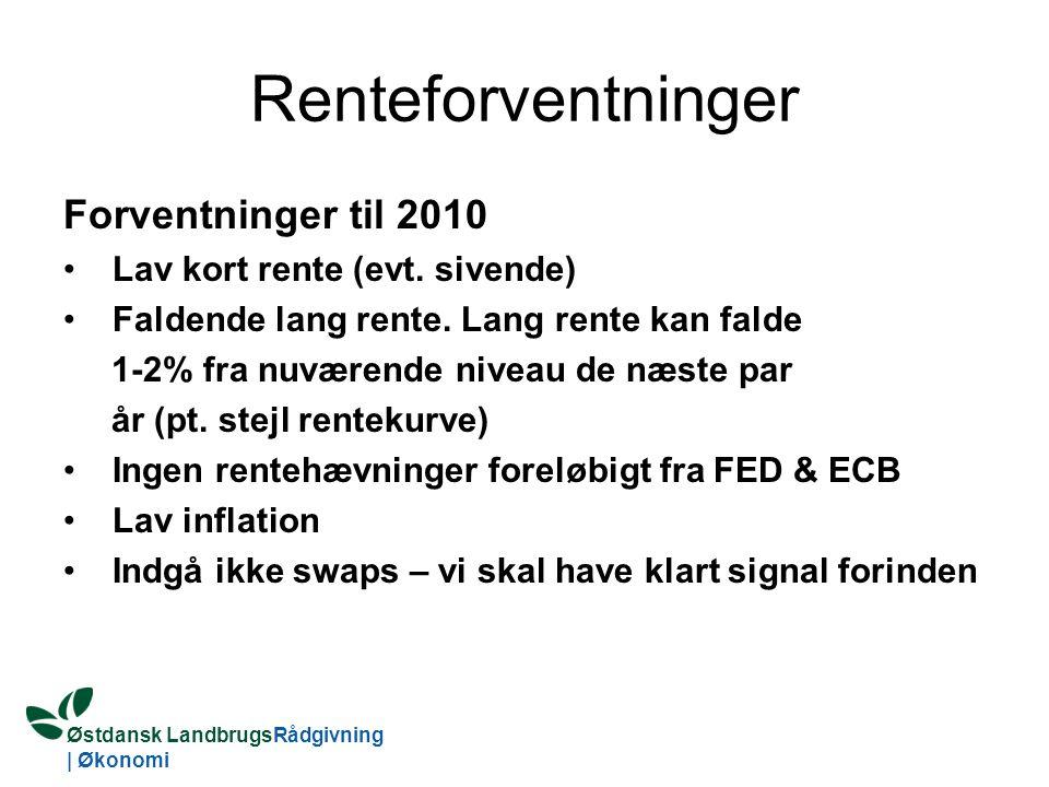 Østdansk LandbrugsRådgivning | Økonomi Renteforventninger Forventninger til 2010 Lav kort rente (evt.