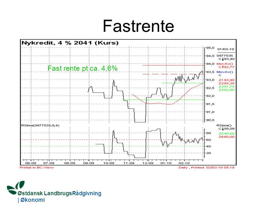 Østdansk LandbrugsRådgivning | Økonomi Fastrente Fast rente pt ca. 4,6%