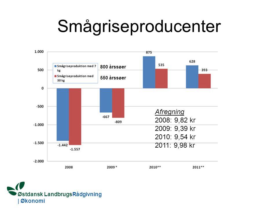 Østdansk LandbrugsRådgivning | Økonomi Smågriseproducenter Afregning 2008: 9,82 kr 2009: 9,39 kr 2010: 9,54 kr 2011: 9,98 kr 800 årssøer 550 årssøer