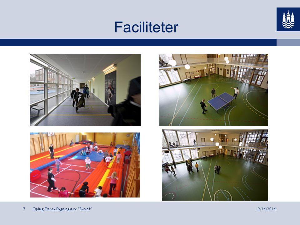 Oplæg Dansk Bygningsarv: Skole+ 712/14/2014 Faciliteter