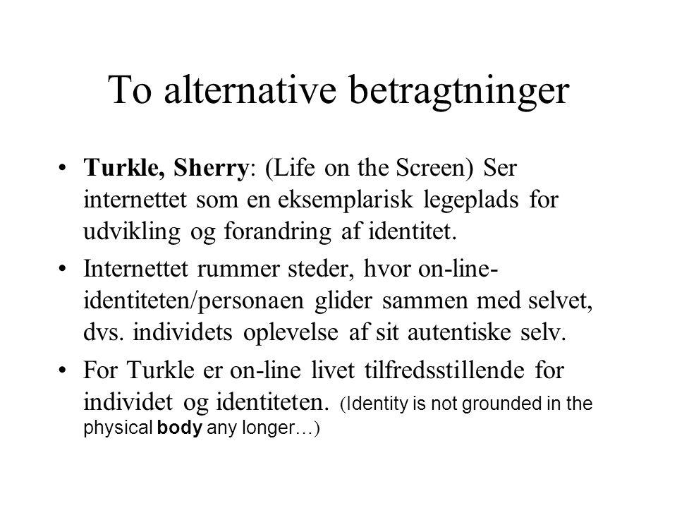 To alternative betragtninger Turkle, Sherry: (Life on the Screen) Ser internettet som en eksemplarisk legeplads for udvikling og forandring af identitet.