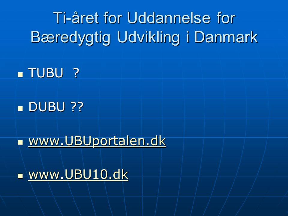 Ti-året for Uddannelse for Bæredygtig Udvikling i Danmark TUBU .