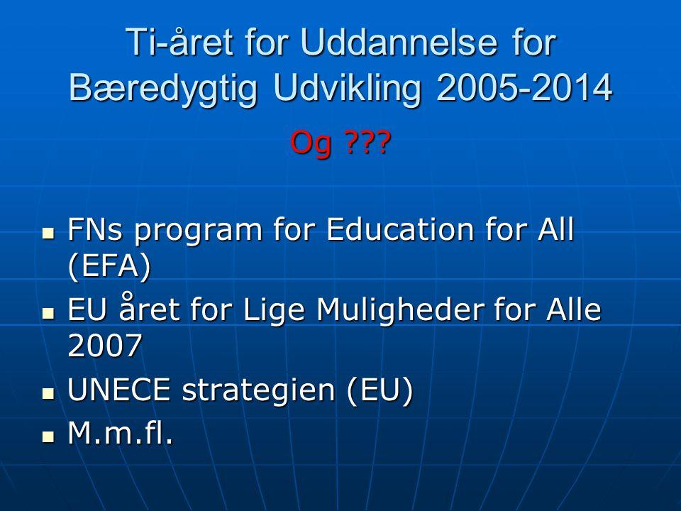 Ti-året for Uddannelse for Bæredygtig Udvikling 2005-2014 Og .
