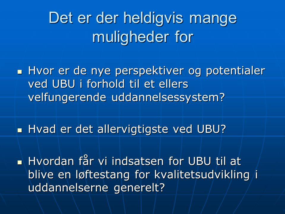 Det er der heldigvis mange muligheder for Hvor er de nye perspektiver og potentialer ved UBU i forhold til et ellers velfungerende uddannelsessystem.