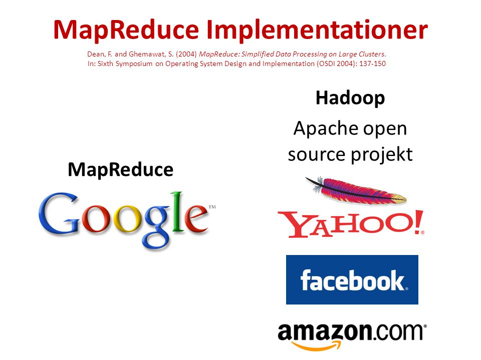 MapReduce Implementationer MapReduce Hadoop Apache open source projekt Dean, F.