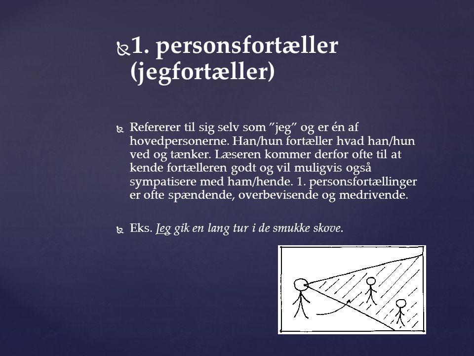 """  1. personsfortæller (jegfortæller)   Refererer til sig selv som """"jeg"""" og er én af hovedpersonerne. Han/hun fortæller hvad han/hun ved og tænker."""