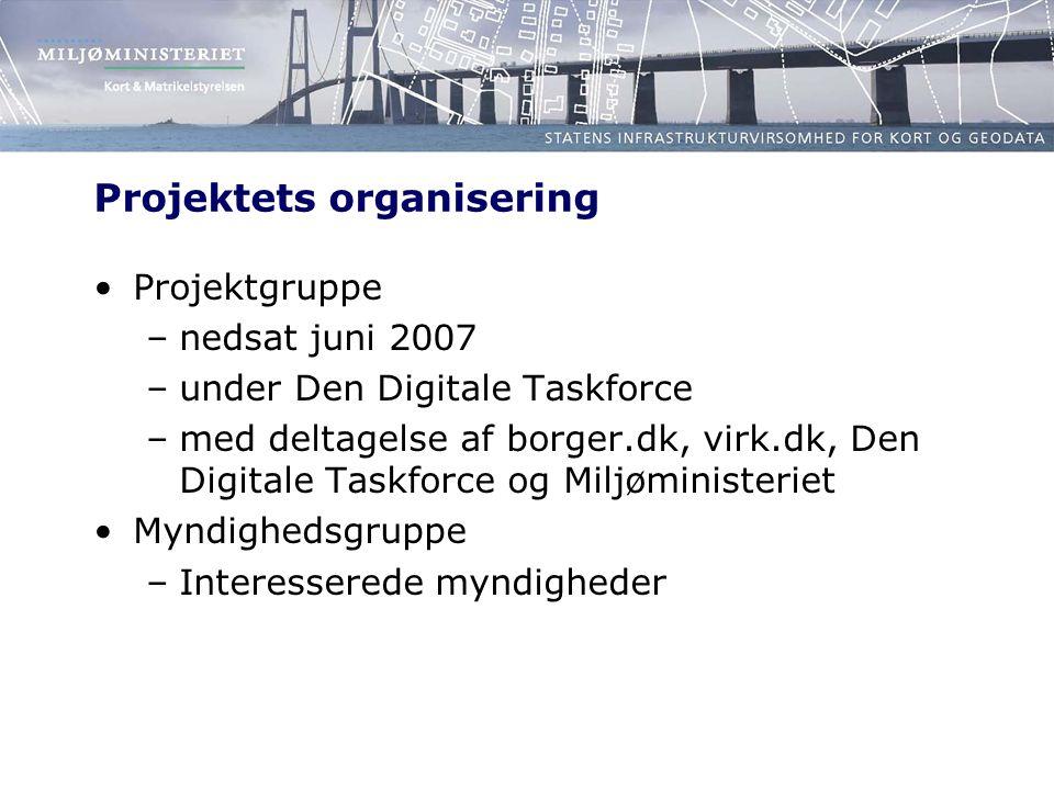Projektets organisering Projektgruppe –nedsat juni 2007 –under Den Digitale Taskforce –med deltagelse af borger.dk, virk.dk, Den Digitale Taskforce og Miljøministeriet Myndighedsgruppe –Interesserede myndigheder