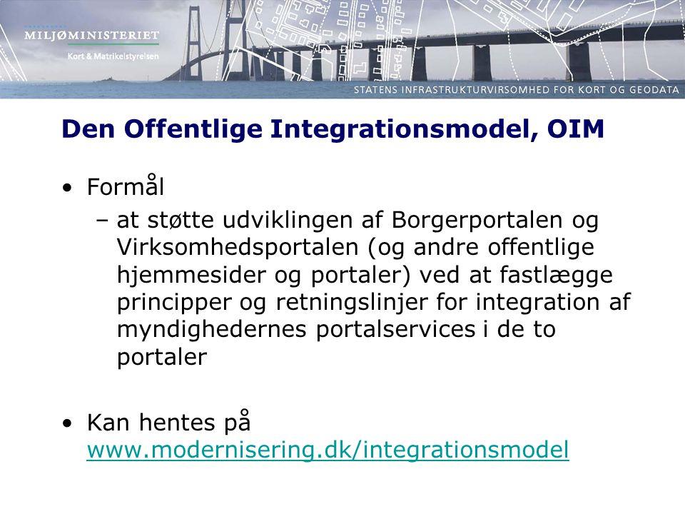 Den Offentlige Integrationsmodel, OIM Formål –at støtte udviklingen af Borgerportalen og Virksomhedsportalen (og andre offentlige hjemmesider og portaler) ved at fastlægge principper og retningslinjer for integration af myndighedernes portalservices i de to portaler Kan hentes på www.modernisering.dk/integrationsmodel www.modernisering.dk/integrationsmodel