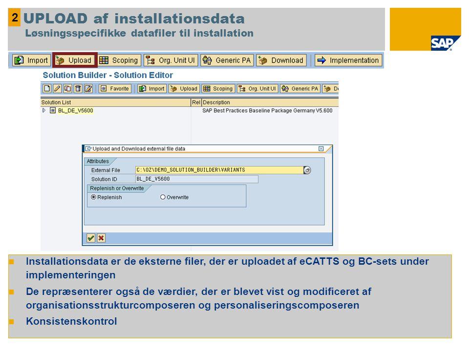 Installationsdata er de eksterne filer, der er uploadet af eCATTS og BC-sets under implementeringen De repræsenterer også de værdier, der er blevet vist og modificeret af organisationsstrukturcomposeren og personaliseringscomposeren Konsistenskontrol 2 UPLOAD af installationsdata Løsningsspecifikke datafiler til installation