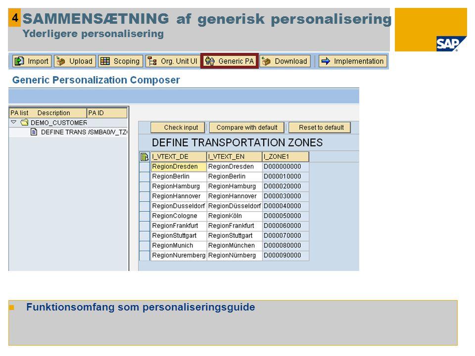 Funktionsomfang som personaliseringsguide 4 SAMMENSÆTNING af generisk personalisering Yderligere personalisering