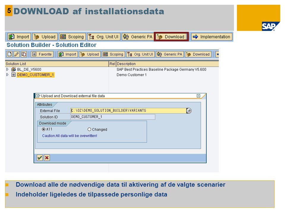 Download alle de nødvendige data til aktivering af de valgte scenarier Indeholder ligeledes de tilpassede personlige data 5 DOWNLOAD af installationsdata