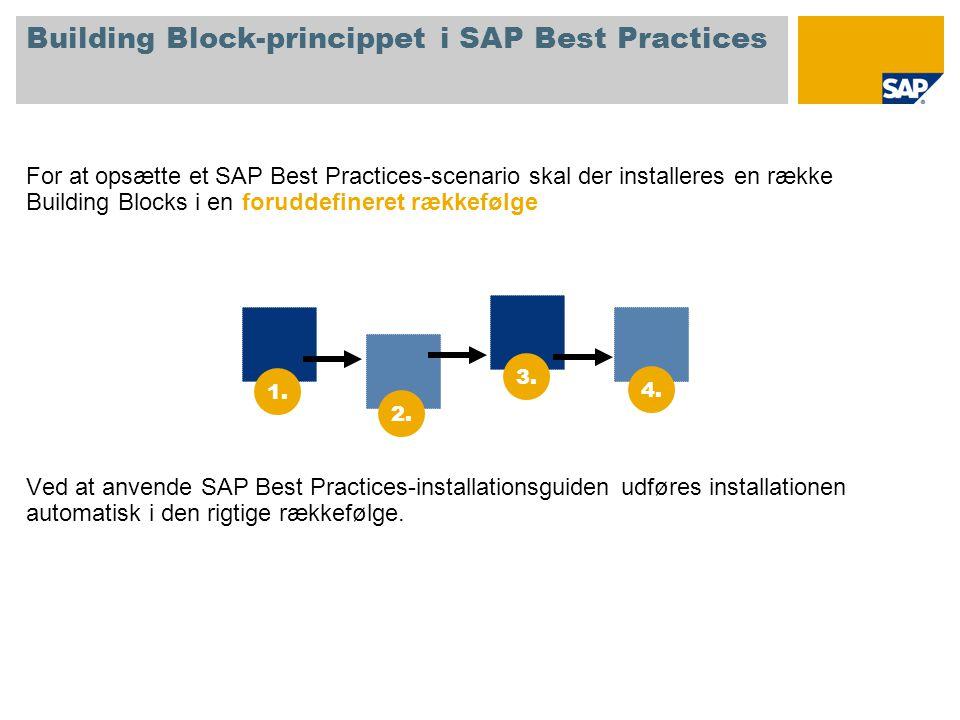 Building Block-princippet i SAP Best Practices For at opsætte et SAP Best Practices-scenario skal der installeres en række Building Blocks i en foruddefineret rækkefølge Ved at anvende SAP Best Practices-installationsguiden udføres installationen automatisk i den rigtige rækkefølge.