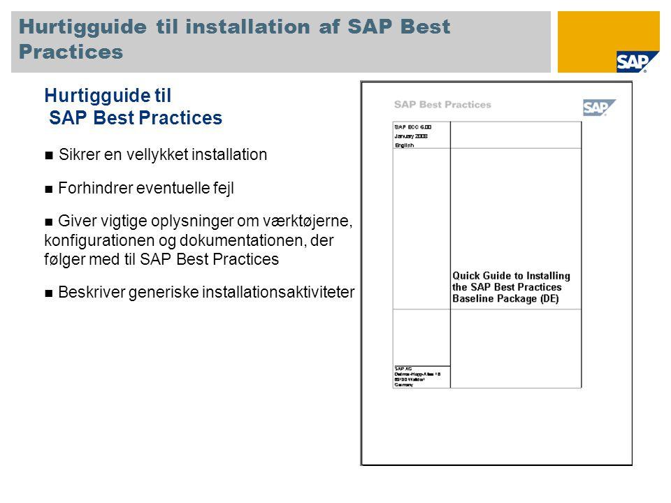 Hurtigguide til installation af SAP Best Practices Hurtigguide til SAP Best Practices Sikrer en vellykket installation Forhindrer eventuelle fejl Giver vigtige oplysninger om værktøjerne, konfigurationen og dokumentationen, der følger med til SAP Best Practices Beskriver generiske installationsaktiviteter