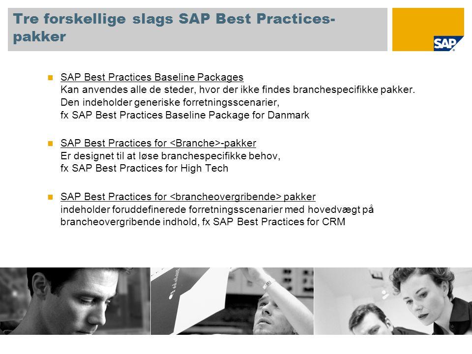 Tre forskellige slags SAP Best Practices- pakker SAP Best Practices Baseline Packages Kan anvendes alle de steder, hvor der ikke findes branchespecifikke pakker.