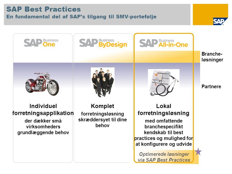 SAP Best Practices En fundamental del af SAP s tilgang til SMV-portefølje Lokal forretningsløsning med omfattende branchespecifikt kendskab til best practices og mulighed for at konfigurere og udvide Komplet forretningsløsning skræddersyet til dine behov Individuel forretningsapplikation der dækker små virksomheders grundlæggende behov Partnere Branche- løsninger Optimerede løsninger via SAP Best Practices