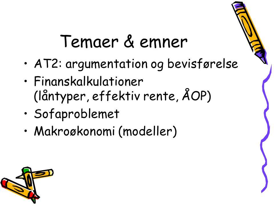 Temaer & emner AT2: argumentation og bevisførelse Finanskalkulationer (låntyper, effektiv rente, ÅOP) Sofaproblemet Makroøkonomi (modeller)