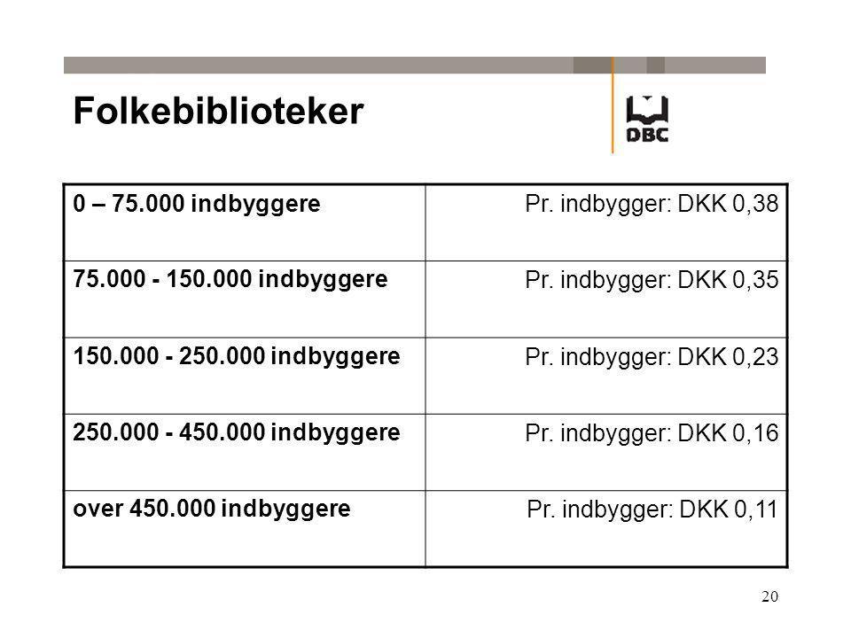 20 Folkebiblioteker 0 – 75.000 indbyggerePr. indbygger: DKK 0,38 75.000 - 150.000 indbyggerePr.