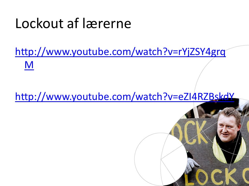 http://www.youtube.com/watch v=rYjZSY4grq M http://www.youtube.com/watch v=eZI4RZBskdY Lockout af lærerne