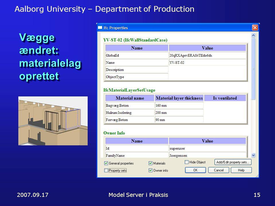 Aalborg University – Department of Production 2007.09.17Model Server i Praksis15 Vægge ændret: materialelag oprettet
