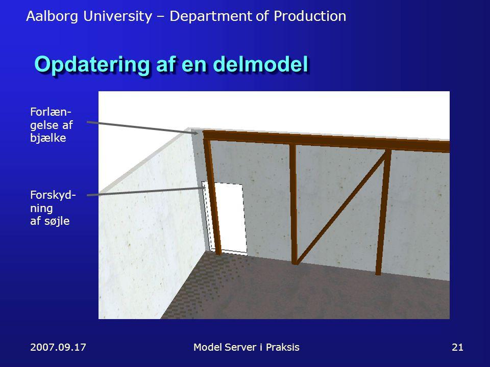 Aalborg University – Department of Production 2007.09.17Model Server i Praksis21 Opdatering af en delmodel Forlæn- gelse af bjælke Forskyd- ning af søjle