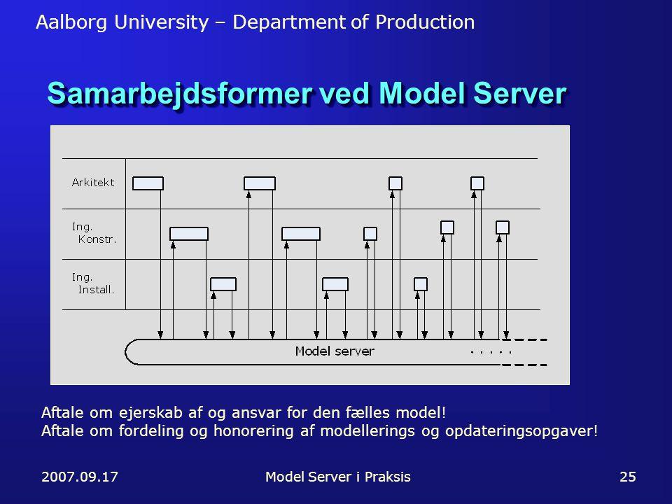 Aalborg University – Department of Production 2007.09.17Model Server i Praksis25 Samarbejdsformer ved Model Server Aftale om ejerskab af og ansvar for den fælles model.