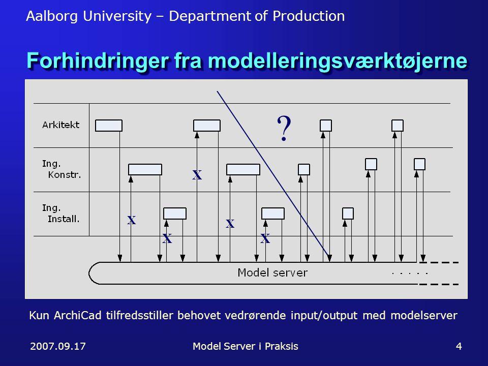 Aalborg University – Department of Production 2007.09.17Model Server i Praksis4 Forhindringer fra modelleringsværktøjerne X X X .
