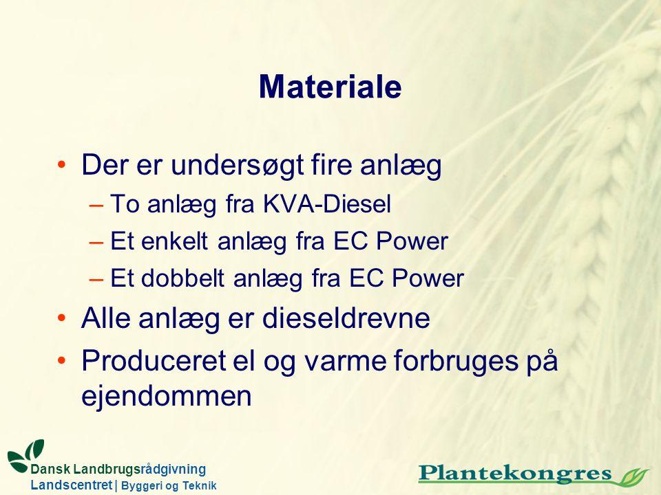 Dansk Landbrugsrådgivning Landscentret | Byggeri og Teknik Materiale Der er undersøgt fire anlæg –To anlæg fra KVA-Diesel –Et enkelt anlæg fra EC Powe