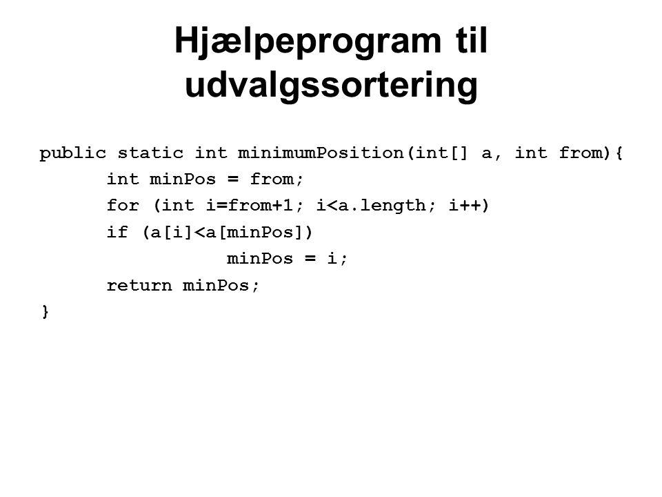 Hjælpeprogram til udvalgssortering public static int minimumPosition(int[] a, int from){ int minPos = from; for (int i=from+1; i<a.length; i++) if (a[i]<a[minPos]) minPos = i; return minPos; }