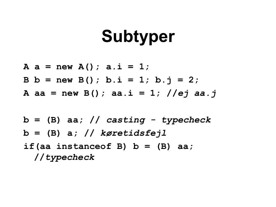 Subtyper A a = new A(); a.i = 1; B b = new B(); b.i = 1; b.j = 2; A aa = new B(); aa.i = 1; //ej aa.j b = (B) aa; // casting - typecheck b = (B) a; // køretidsfejl if(aa instanceof B) b = (B) aa; //typecheck