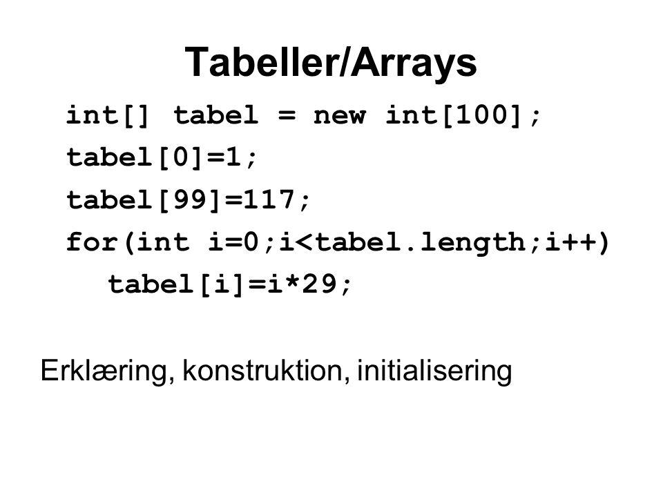 Tabeller/Arrays int[] tabel = new int[100]; tabel[0]=1; tabel[99]=117; for(int i=0;i<tabel.length;i++) tabel[i]=i*29; Erklæring, konstruktion, initialisering
