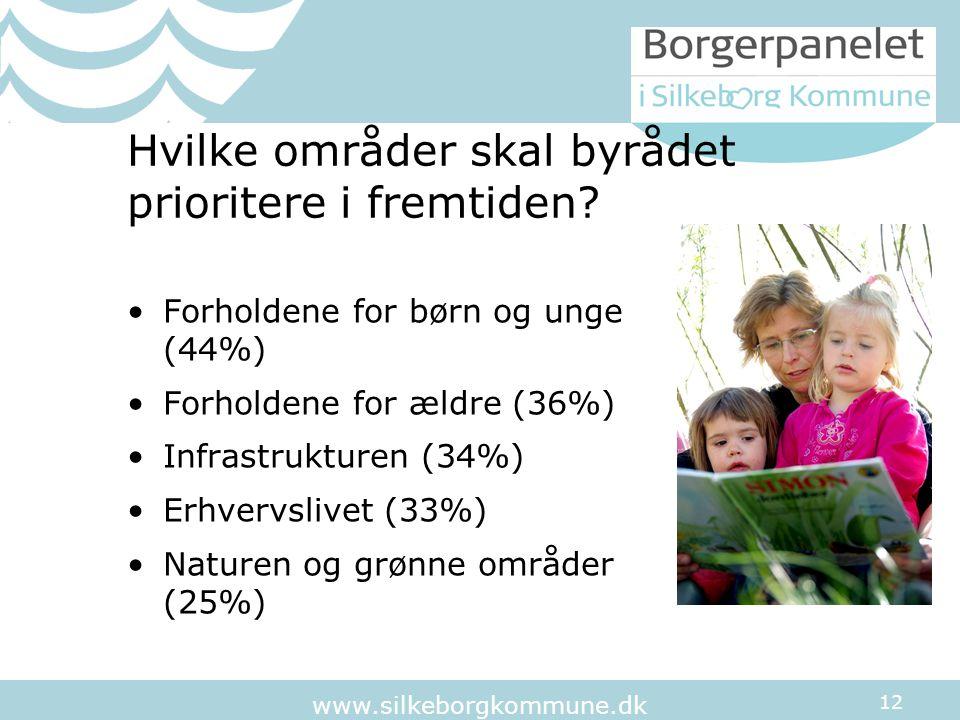 12 www.silkeborgkommune.dk Hvilke områder skal byrådet prioritere i fremtiden.